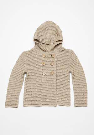 Dailyfriday Kid Hooded Cardigan Jackets & Knitwear Dark Beige