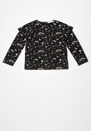 Dailyfriday Shooting Star Top Black, Dirty Pink & White
