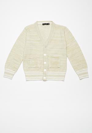 Basicthread Kids Tipped Classic Cardi Jackets & Knitwear Oatmeal & White