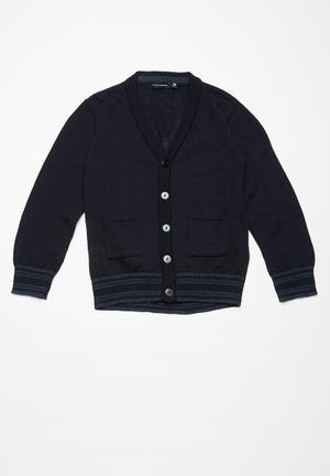 Basicthread Kids Tipped Classic Cardi Jackets & Knitwear Navy