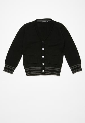 Basicthread Kids Tipped Classic Cardi Jackets & Knitwear Black & Grey