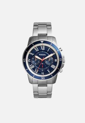 Fossil Grant Watches Silver & Navy