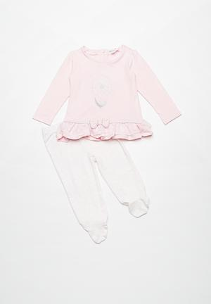 Babaluno Top And Pant Set Pink & White