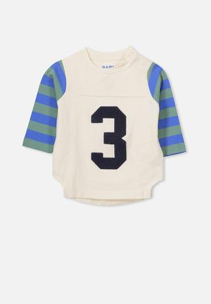 Cotton On Baby Freddie Tee Tops White, Green & Blue