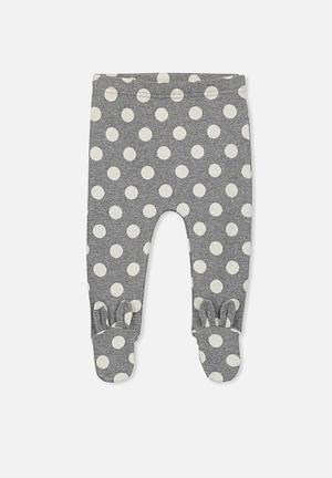 Cotton On Baby Aspen Footed Legging Pants & Jeans Grey & White