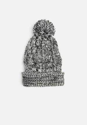Basicthread Melange Pom Pom Beanie - Black & White Headwear 100% Acrylic