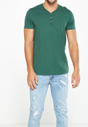 Cotton On Essential Henley T-Shirts & Vests Green