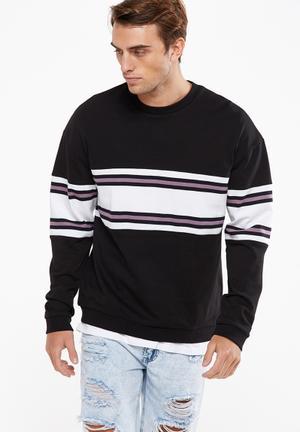 Cotton On Drop Shoulder Crew Fleece Hoodies & Sweats Black, White & Purple