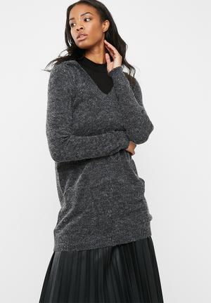 Jacqueline De Yong Aika Hooded Sweater Knitwear Dark Grey