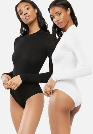 Dailyfriday 2 Pack Turtle Neck Bodysuit T-Shirts, Vests & Camis Black & White