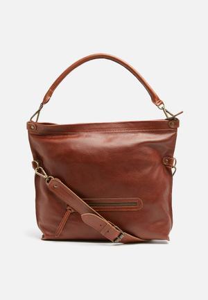 FSP Collection Fifi Leather Crossbody Bags & Purses Cognac