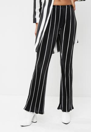 Striped plisse flared leg trousers