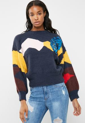 Missguided Fluffy Batwing Jumper With Sequin Detail Knitwear Navy, Yellow & Red
