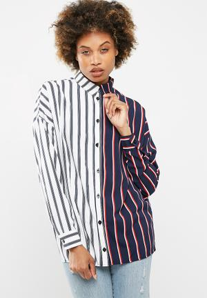 Missguided Striped Long Line Shirt Navy, White & Red