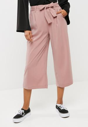 New Look Topaz Self Tie Wide Crop Trouser Dusty Pink
