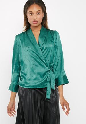 Vero Moda Henna Satin Wrap Top Blouses Green