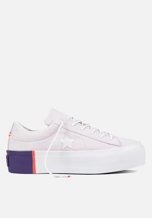 Converse One Star Platform Sneakers Barely Grape/Rush Coral/White