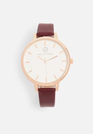 Alecia watch - burgundy