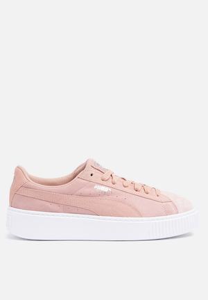 PUMA Suede Platform Sneakers Peach Beige-Puma White
