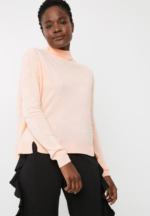 Noisy May Chen High Neck Sweater Knitwear Peach