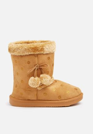 Foot Focus Kids Winter Boots Shoes Tan