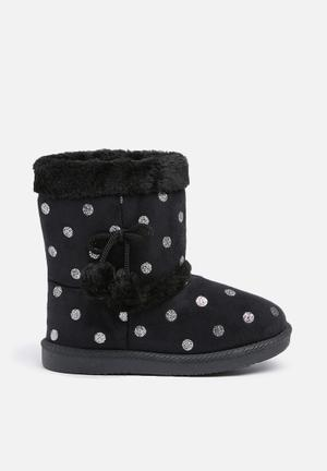 Foot Focus Kids Winter Boots Shoes Black & Silver
