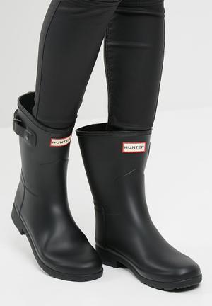 Hunter Original Refined Short Matte Boots Black