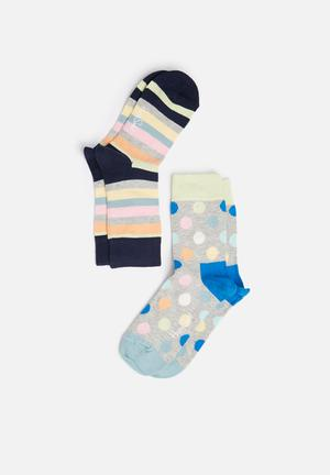 Happy Socks Kids 2pk Stripe Socks Accessories Multi