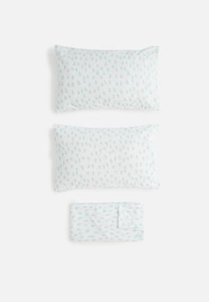 Sixth Floor Raindrops Printed Sheet Set Bedding  Polycotton
