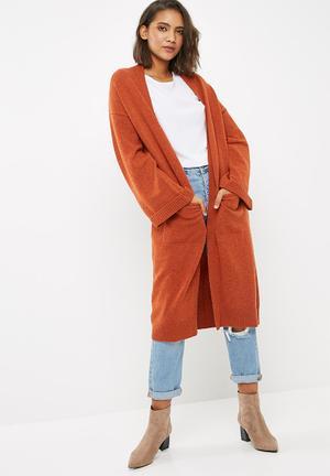 Dailyfriday Maxi Coatigan Knitwear Burnt Orange