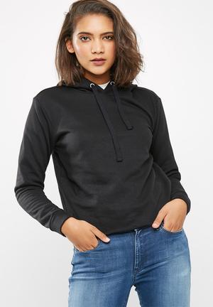 Jacqueline De Yong Tori Cropped Hooded Sweat Black