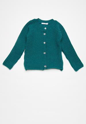 Dailyfriday Kids Fluffy Cardi Jackets & Knitwear Blue