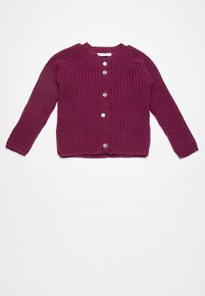 Dailyfriday Kids Fluffy Cardi Jackets & Knitwear Purple