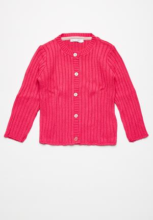 Dailyfriday Classic Ribbed Cardigan Jackets & Knitwear Pink