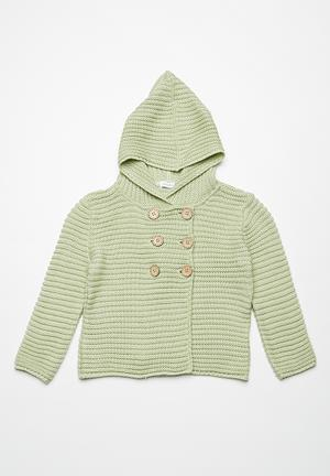 Dailyfriday Double Breasted Hoodie Cardigan Jackets & Knitwear Green