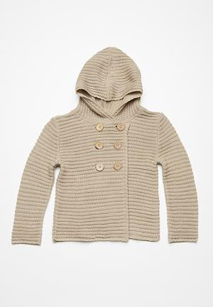 Dailyfriday Double Breasted Hoodie Cardigan Jackets & Knitwear Beige