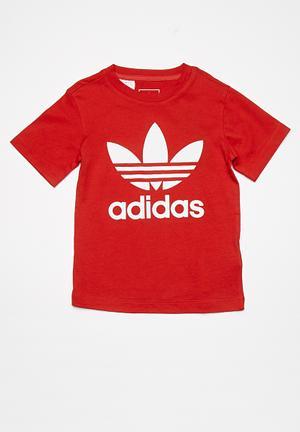Adidas Originals Kids Trefoil Tee Tops Red