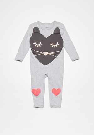 Cotton On Baby Isla Snap Romper Babygrows & Sleepsuits Grey, Gold & Orange