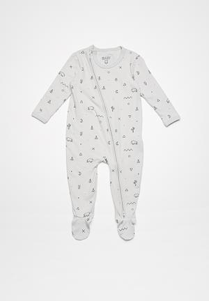 Cotton On Baby Mini Zip Through Romper Babygrows & Sleepsuits Grey