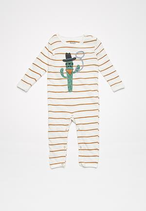 Cotton On Baby Noah Snap Romper Babygrows & Sleepsuits Cream