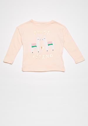 Cotton On Kids Anna Drop Shoulder Split Hem Tee Tops Pink