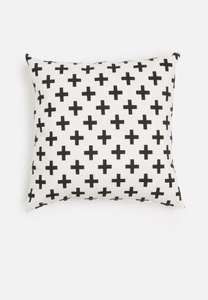 Grey Gardens Scandi Cross Cushion Cover Cotton/Polyester Blend