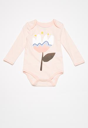 Cotton On Baby Mini Long Sleeve Bubby Babygrows & Sleepsuits Pink