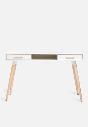 Sixth Floor Alva Desk MDF Top, MDF Drawers, Solid Wood Legs
