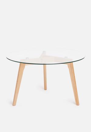 Sixth Floor Alva Coffee Table Glass Top, Solid Wood Legs