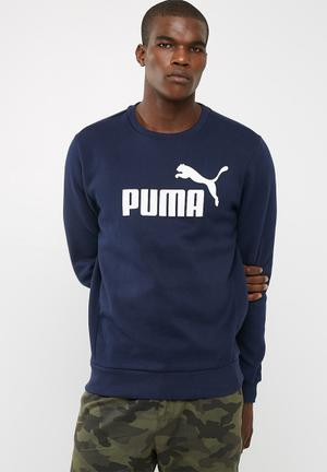 PUMA ESS Crew Sweat Top Navy & White