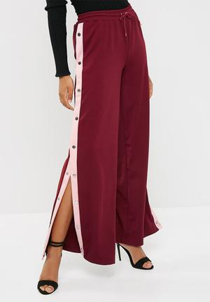 Missguided Popper Wide Leg Jogger Trousers Burgundy & Pink