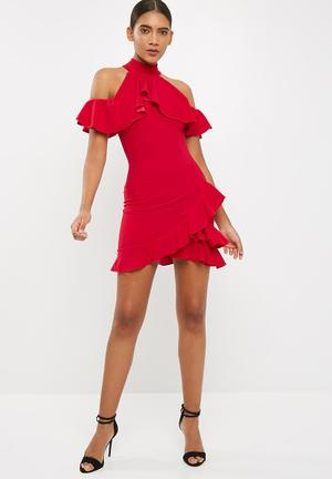 Missguided High Neck Cold Shoulder Frill Detail Mini Dress Occasion Red