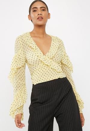 Missguided Chiffon Polka Dot Frill Detail Tie Front Long Sleeve Top Blouses Yellow & Black
