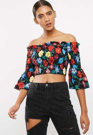 Missguided Floral Print Shirred Bardot Top Blouses Black , Blue , Red, Green, Yellow & Pink